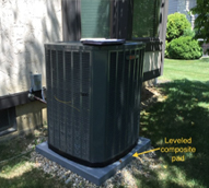 Air Conditioner Sitting On Leveled Composite Pad