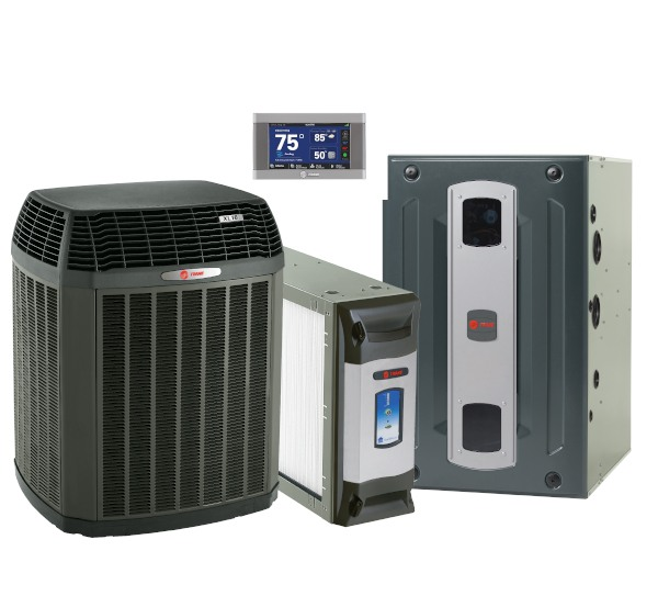 A thermostat, air conditioner, and furnace.